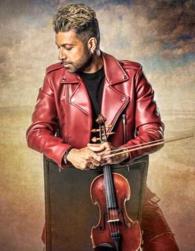 G Pinto red jacket and violin